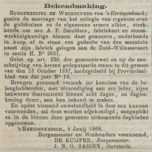 Krantenbericht: 'Bekendmaking aankoop grond in 1868'.