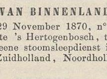 Krantenbericht: 'Bekendmaking stoomsleepdienst in 1870'.