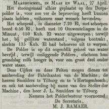 Krantenbericht: 'Verklaring Polderbestuur van Maas en Bommel 1868'.