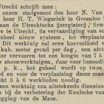 Krantenartikel: 'Ontwikkeling Excavateur - Opdracht voor een geheel nieuwe machine in 1882'.