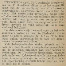 Krantenartikel: 'Oplevering drie baggermolens voor Volker in 1883'.