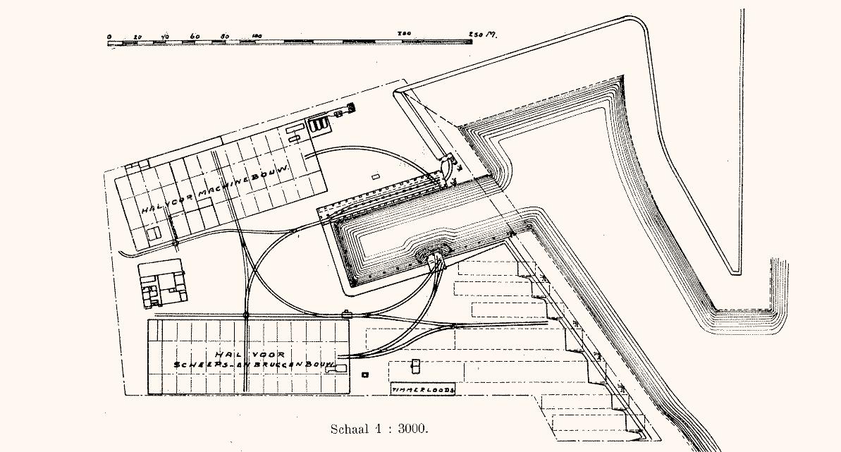 Plattegrond en sporenplan Werf Gusto 1907
