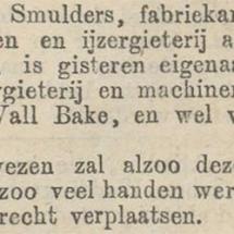Krantenbericht: 'Bekendmaking aankoop van de Wall en Bake in Utrecht in 1872'.