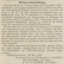 Krantenbericht: 'Bekendmaking oprichting in 1862'.