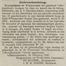 Krantenbericht: 'Bekendmaking plaatsing nieuwe stoomketel in 1867'.