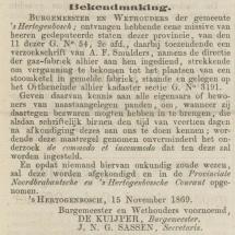 Krantenbericht: 'Bekendmaking plaatsing stoomketel in gasfabriek den Bosch in 1869'..