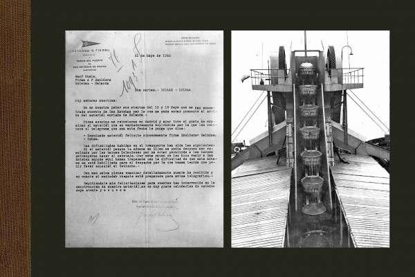 Links brief van een tevreden opdrachtgever en rechts zicht op een emmerladder