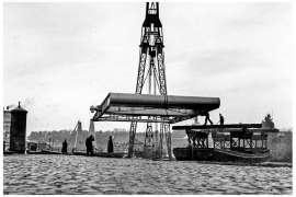 Bnr. 713 'Westerhavenbrug Schiedam' 1937, aanvoer en inhijsen van de Balans.