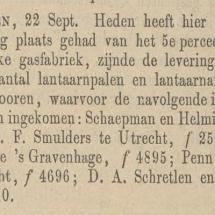 Krantenartikel: 'Bericht van aanbesteding gasfabriek Kampen in 1873'.