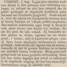 Krantenartikel: 'Bericht van aankoop nieuw terrein in Utrecht in 1873'.